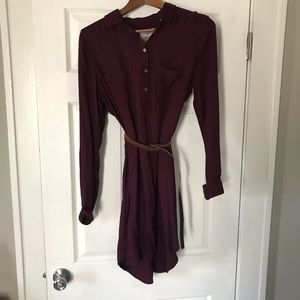 SO Burgundy Shirt Dress